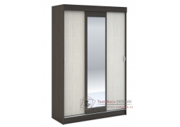 BASIA, šatní skříň se zrcadlem 130cm 3D WK-551, wenge / dub belfort