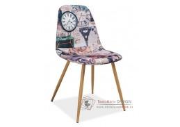 CITI, jídelní čalouněná židle, dub / látka vzor Paříž