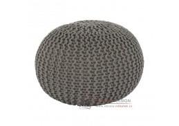 GOBI 2, pletený taburet, hnědo-šedá bavlna