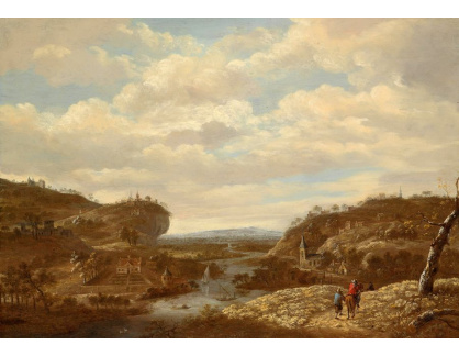 Slavné obrazy XVI-481 Dirck Verhaert - Říční krajina