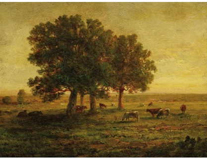 KO III-384 Théodore Rousseau - Stádo krav mezi duby v Apremontu