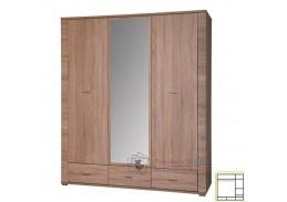 GRAND 02, šatní skříň se zrcadlem 161cm, dub sonoma