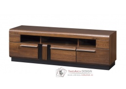 PORTI P-25, televizní stolek, antický dub / černé sklo