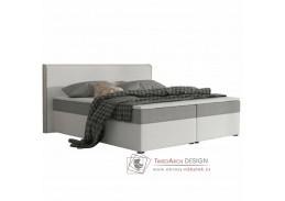 NOVARA KOMFORT, postel 180x200cm, ekokůže bílá / látka šedá