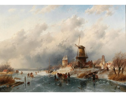 Slavné obrazy III-DDSO-522 Charles Leickert - Zimní krajina s bruslaři