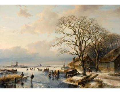 Slavné obrazy XVI-173 Andreas Schelfhout - Zimní krajina