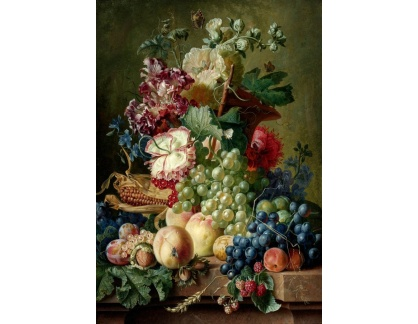 Krásné obrazy V-7 Paul Theodor van Brussel - Zátiší z květů a plodů na mramorovém soklu