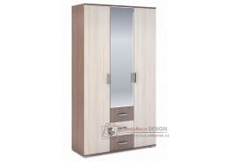 ROCHEL, šatní skříň 120cm 3-dveřová 45cm, jasan šimo tmavý / jasan šimo světlý