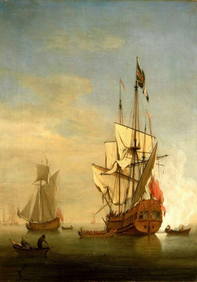 VL101 Willem van de Velde - Uvítací salva anglické královské lodě