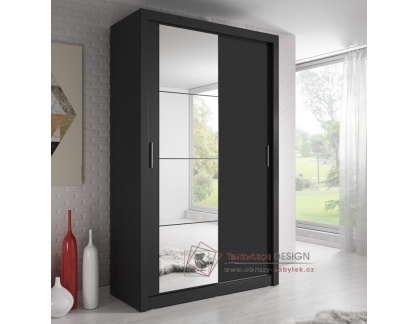 ARTI 06, šatní skříň s posuvnými dveřmi 120cm, černá / zrcadla