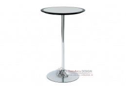 AUB-6050 BK, barový stůl pr. 60cm, chrom / plast černo-stříbrný