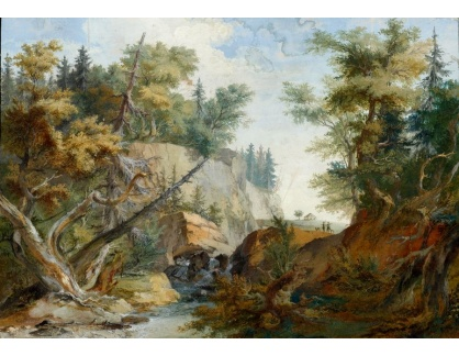 Slavné obrazy III-DDSO-517 Caspar Wolf - Kopcovitá krajina s řekou a postavami v pozadí