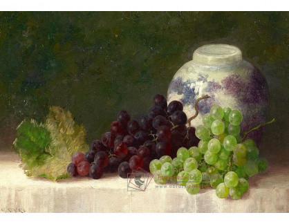 VN-198 Max Streckenbach - Zátiší s hroznovým vínem a porcelánovou vázou
