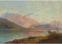 Slavné obrazy XVI-13 Adolf Obermüllner - Večer u jezera Gmunden