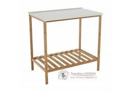 SELENE 5, stůl s policí, přírodní bambus / bílá
