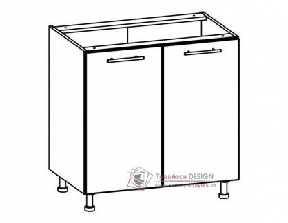 TIFFANY, kuchyňská dolní skříňka T22/D80 bílá / bílý lesk