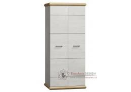 KORA K01, šatní skříň, bílá / divoký dub