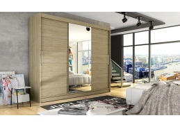 ASTON I, šatní skříň s posuvnými dveřmi 250cm, dub sonoma / zrcadlo