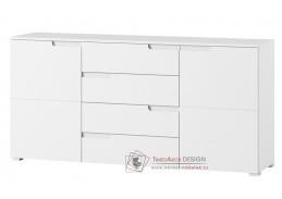 SELENE, komoda 2-dveřová se zásuvkami 8, bílá / bílý lesk