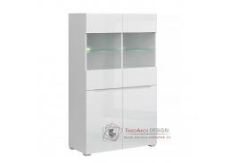 JOLK, vitrína 2D2W, bílá / bílý lesk
