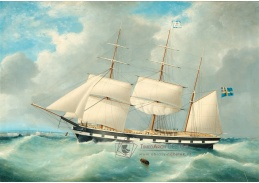 Slavné obrazy IX DDSO-622 Frederick Tudgay - Plachetnice na volném moři