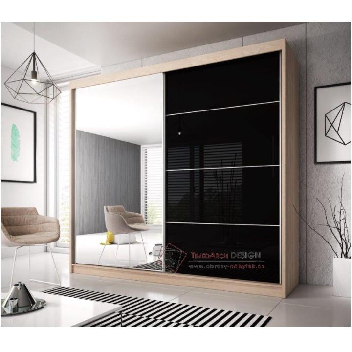 Skříň s posuvnými dveřmi 233cm MULTI 31 dub sonoma / černý lesk