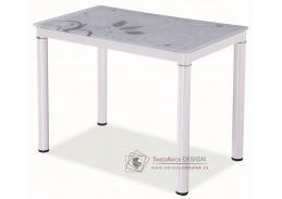 Jídelní stůl 100x60 cm DAMAR bílá / bílé sklo