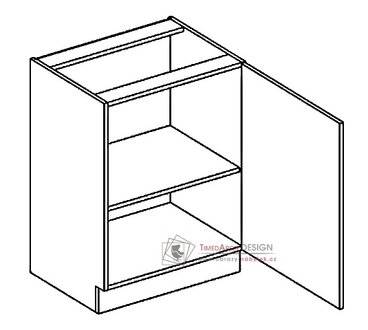 Dolní skříňka D60 PAULA šedá / bílý mat - pravá