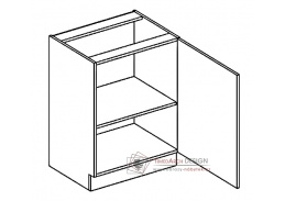 PAULA, dolní skříňka 1-dvéřová D60P - pravá, šedá / bílá