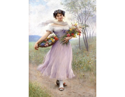 Slavné obrazy XVII-18 Eugene von Blaas - Dívka v šatech barvy lilla