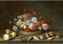 A-1313 Balthasar van der Ast - Tulipány, růže a jiné květiny v košíku na stole, s mušlemi, ovocem, ještěrk