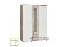 VALERIA, šatní skříň 140cm, dub pískový / bílá