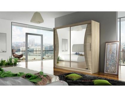 BEGGA V, šatní skříň s posuvnými dveřmi 180cm, dub sonoma / zrcadla
