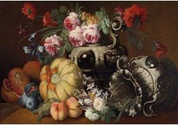 SO XIV-489 Abraham Brueghel - Zátiší s ovocem a květinami a se dvěma barokními vázami