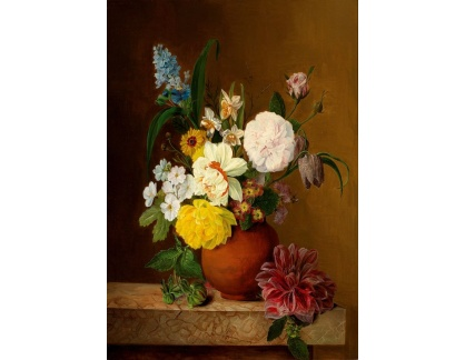 Slavné obrazy XVII-154 Franz Xaver Gruber - Květinové zátiší s růžemi, narcisy a hyacinty