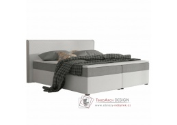 NOVARA KOMFORT, postel 160x200cm, ekokůže bílá / látka šedá
