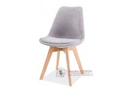 DIOR, jídelní židle, dub / látka světle šedá