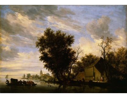 Slavné obrazy XIV-87 Salomon van Ruysdael - Říční krajina
