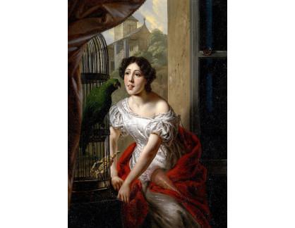 Slavné obrazy XVII-161 Francois Ange - Krmení papouška