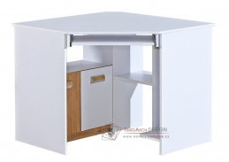 LIMO L11, pracovní stůl rohový, bílá / dub nash