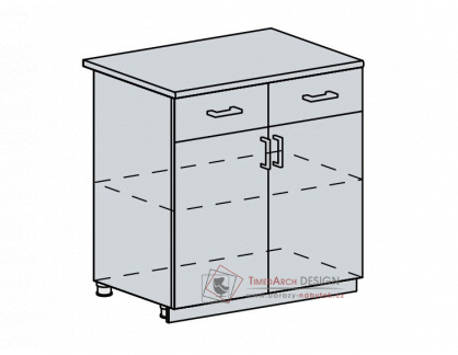 ANASTASIA, dolní skříňka 2-dveřová se zásuvkou 80D1S2, bílá / ořech
