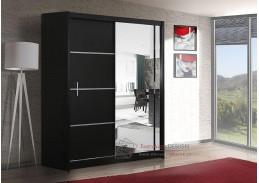 Šatní skříň s posuvnými dveřmi 150cm VISTA černá / zrcadlo