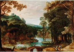 DDSO-1475 Adriaen van Stalbemt - Zalesněná říční krajina s vesnicí a postavami