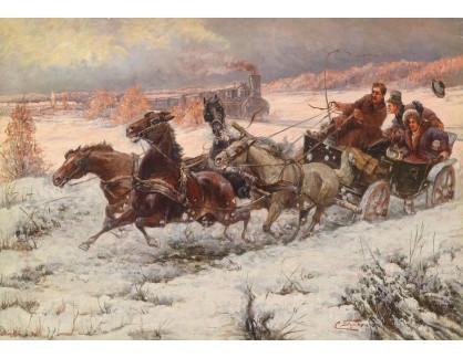 Slavné obrazy XVI-334 C. Stojanow - Železnice