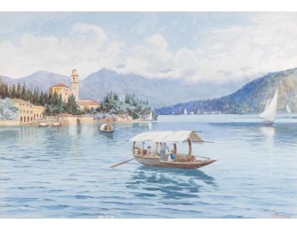 Slavné obrazy XVI-395 Carlo Menegazzi - Tremezzo směrem k Bellagio