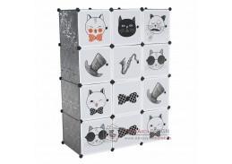 AVERON, dětská modulární skříň, šedá / dětský vzor