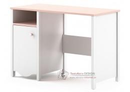 MIA MI-03, pracovní stůl 1D1S, bílá / růžová