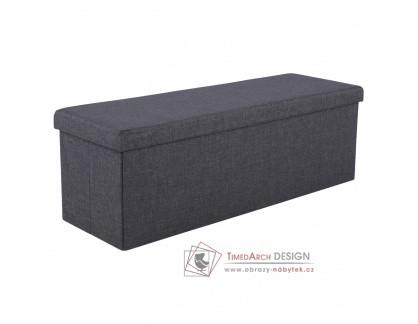 UMINA, skládací lavice - taburet, látka šedá