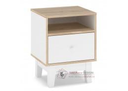PATRICIA, noční stolek 1D - sada 2ks, bílá / dub sonoma