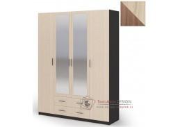 HARMONIE, šatní skříň 4-dveřová se 2-mi zásuvkami 160cm 4D2S, jasan šimo tmavý / jasan šimo světlý
